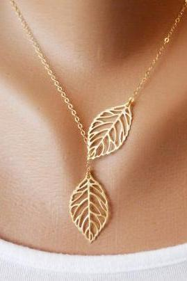 Double Leaf Pendant Necklace - Leaf Necklace - Leaf Pendant - Leaf Jewelry - Leaf Accessories