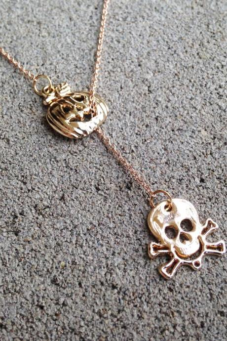Skull and Pumpkin Pendant Necklace - Skull Necklace - Pumpkin Necklace - Skull Pendant - Skull Jewelry - Skull Accessories