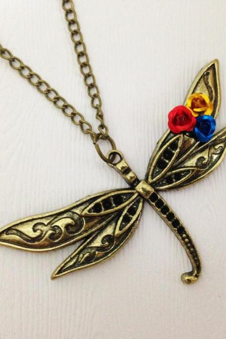 Dragonfly Pendant Necklace Antique Bronze - Grasshopper Necklace - Grasshopper Pendant - Grasshopper Jewelry - Grasshopper Accessories
