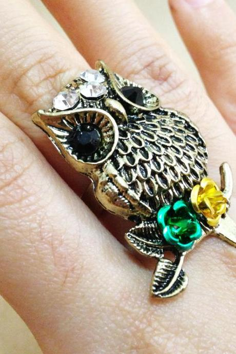 Owl Ring Antique Bronze - Owl Ring -Owl Jewelry - Owl Accessories - Finger Ring