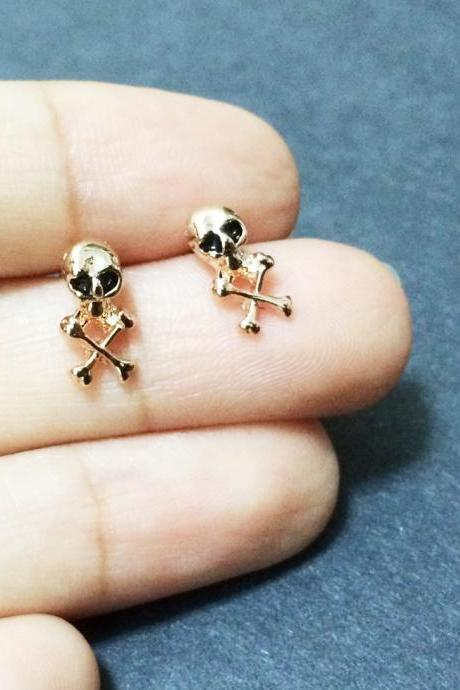 Tiny Skull Earrings - Skull Earrings - Skeleton Earrings - Skull Jewelry - Skull Accessories