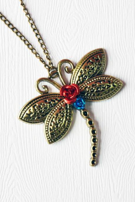 Dragonfly Pendant Necklace Antique Bronze - Dragonfly Necklace - Dragonfly Pendant - Dragonfly Jewelry - Dragonfly Accessories