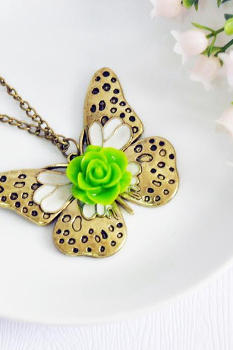 Cute Butterfly Pendant Necklace Antique Bronze - Butterfly Necklace - Butterfly Pendant - Butterfly Jewelry - Butterfly Accessories